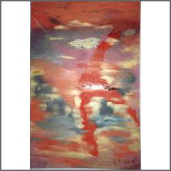 tela e óleo pássaro vermelho..