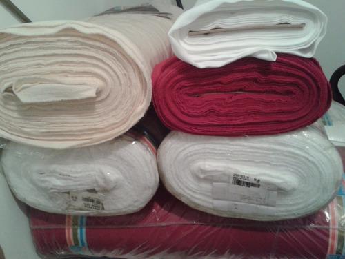 tela gabardina strech blanca y roja