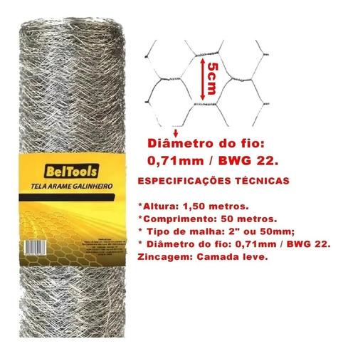 tela galvanizada para galinheiro 1,50mx50m 22 bwg beltools