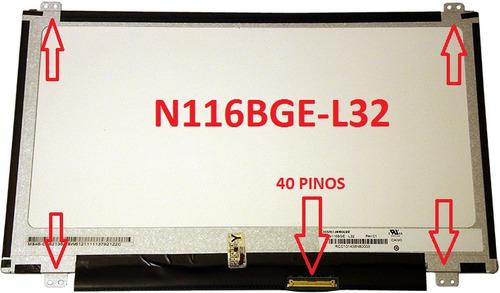tela led slim 11.6 polegadas n116bge-l32 (aba superior)
