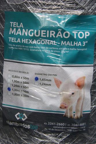 tela mangueirão 0,80x50m fio 18 porco, carneiro, granja,hort