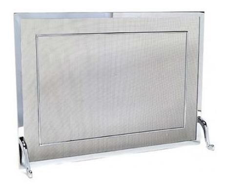 tela para lareira em latão cromado polido - 60x40 cm