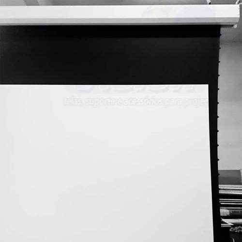 tela projeção elétrica tensionada 159'16:9 suporte projetor