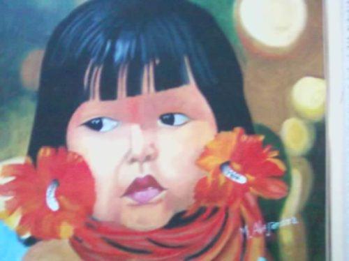 tela sem moldura índia criança indígena flores  penas