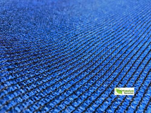tela sombrite azul 80% - 3m x 4,5m com bainha e ilhós