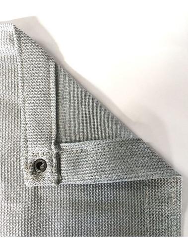 tela sombrite prata 95% - 4,5m x 6,5m com bainha e ilhós