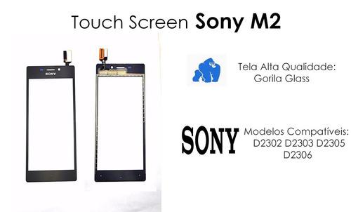 tela touch sony xperia m2 d2302 d2303 d2305 d2306 preto fret