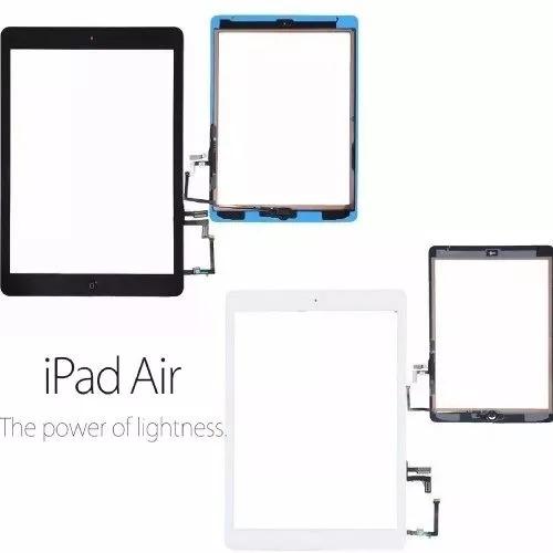 tela vidro touch ipad air + home + adesivo a1474 a1475 a1476