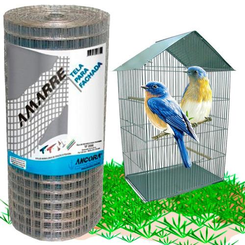 tela viveiro pássaros cerca fachada eletro soldada 50cmx25m