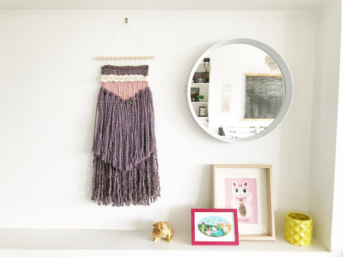 telar decorativo violeta hecho a mano artesanal (chico)