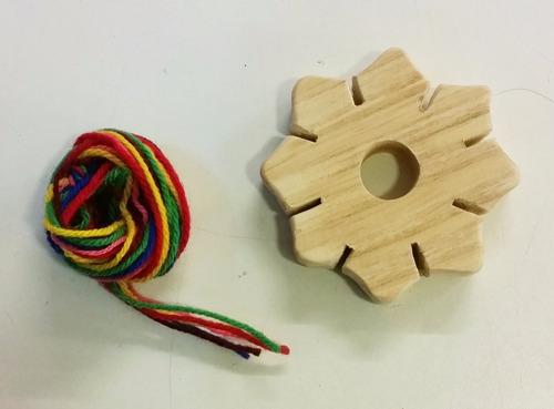 telar estrella de madera waldorf montessori con lana vm
