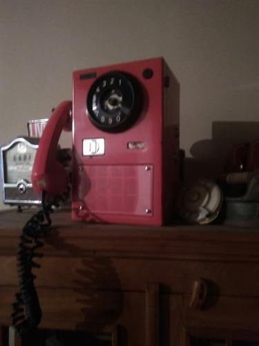 telefone antigo raro orelhao icatel de discar vermelho