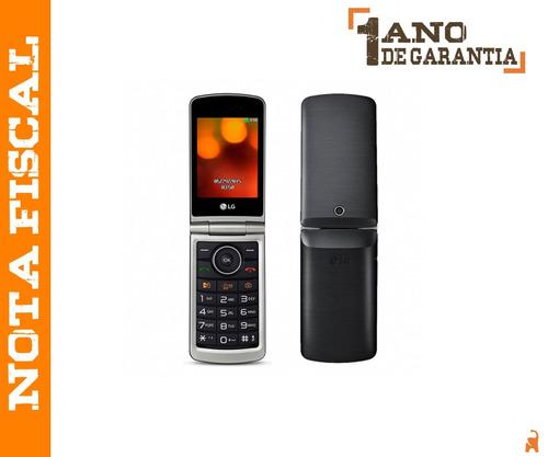 telefone celular lg g360 flip 2 chips preto original nf-e