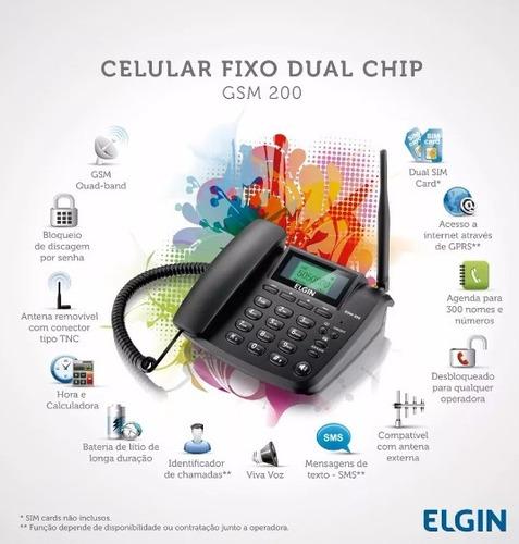 telefone celular rural fixo 2 chip elgin gsm200