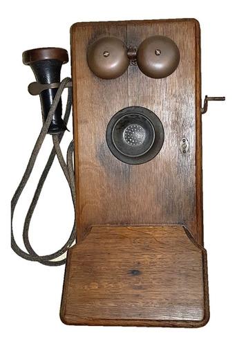 telefone de parede em pinho de riga inglês funcionando