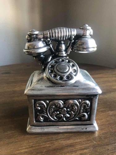telefone decorativo porcelana prata