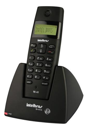 telefone fixo intelbras s/fio ts40id preto com identificador