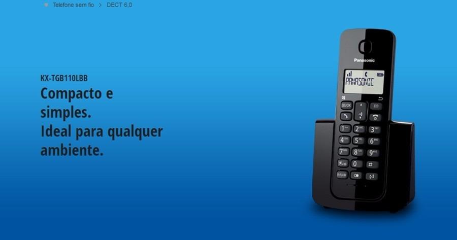 b031964d6 telefone fixo sem fio panasonic dect 6.0 kx tgb110lbb preto. Carregando  zoom.