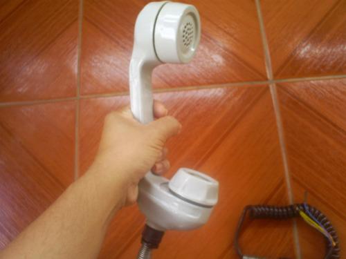 telefone monofone antigo em alumínio, sem uso (lote 187)