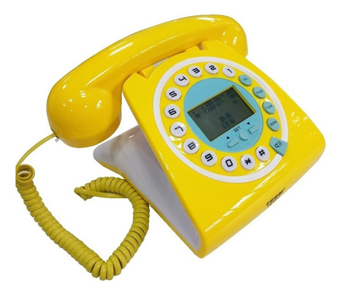 telefone retrô vintage antigo identificador cor amarelo teem