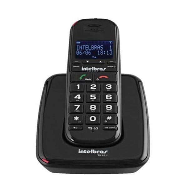 3cb37b6e46 Telefone Sem Fio Digital Ts 63 V Preto Intelbras Com Id - R  278