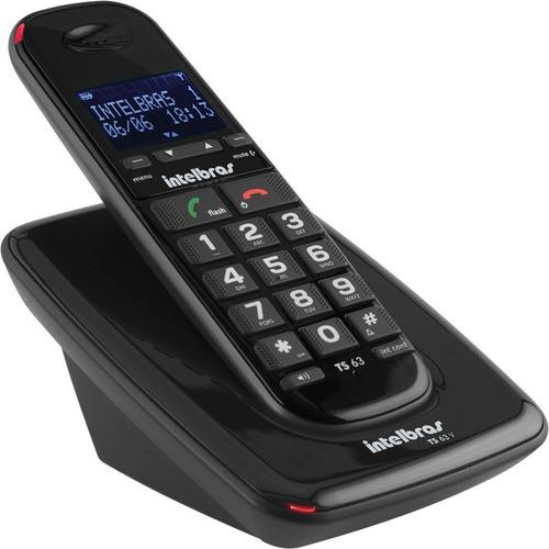 aebb4c6911 Telefone Sem Fio Digital Ts 63 V Preto Intelbras Com Id - R  229