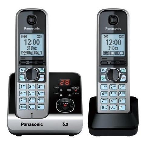telefone sem fio panasonic kx-tg6722lbb+1ramal preto bivolt