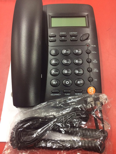 teléfono alambico con pantalla  negro