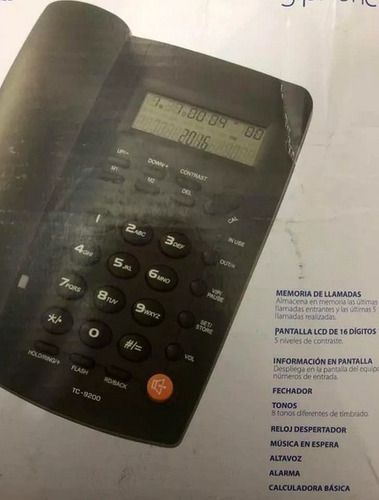 telefono  alambrico con identificador de llamadas tc-9200
