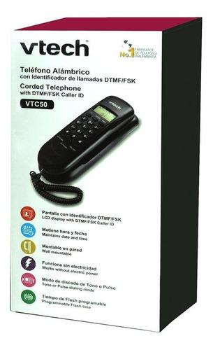 telefono alambrico vtech vtc50 montaje de pared o mesa flash