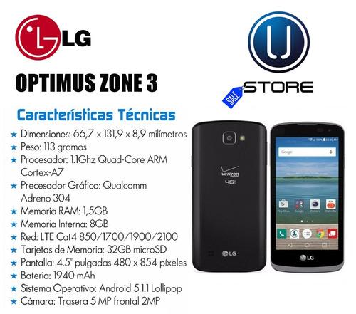 teléfono android lg optimus zone 3 1.5gb ram lte