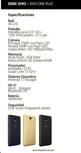 telefono blu - vivo one plus 16gb rom 4000mah android 7.1