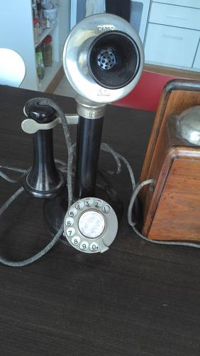 telefono candelero antiguo ingles funcionando campanillas