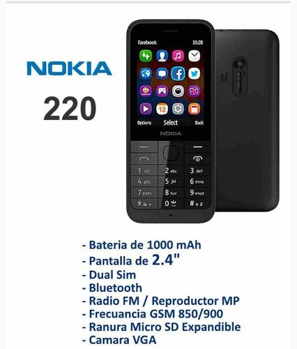 telefono celular basico nokia modelo 220 colores variados