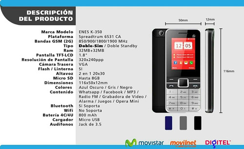 teléfono celular económico doble sim + camara flash