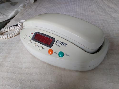 teléfono con reloj y alarma marca coby mod. ct-p640. bueno.