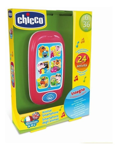 teléfono de juguete smartphone bilingüe de animalitos chicco
