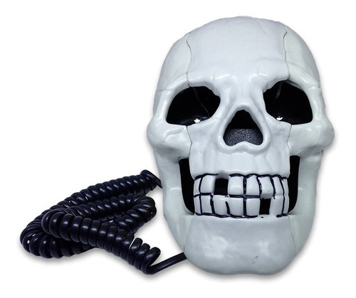 teléfono fijo calavera ojos led cráneo blanco alámbrico