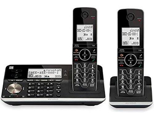 teléfono inalámbrico doble motorola dect 6.0 bluetooth contestadora negro alta voz
