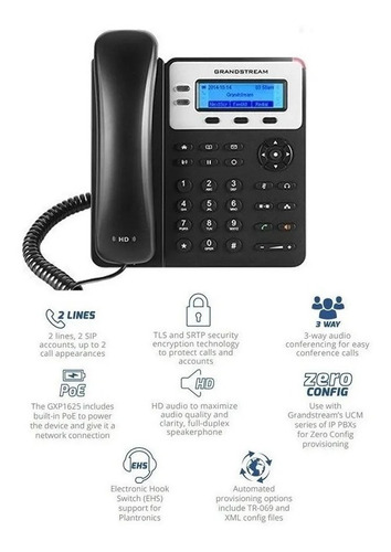 telefono ip grandstream gxp1620 2 sip 2 lineas ethernet
