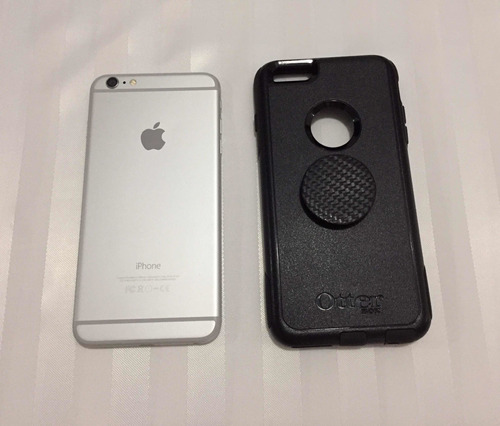 teléfono iphone 6 plus 16gb silver forro cargador audifonos