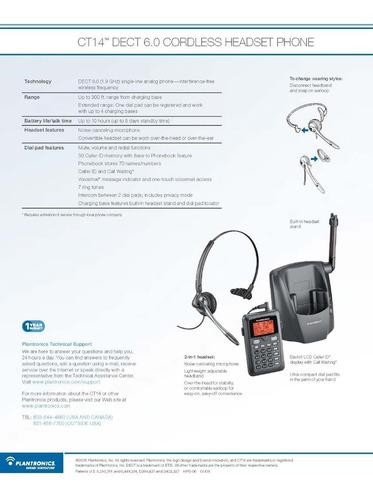 telefono plantronics ct14 portatil inalambrico con diadema
