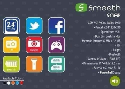 telefono smooth snap dual sim camara libre facebook + funda