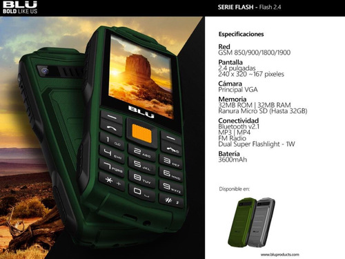 teléfono uso rudo blu tank flash 2.4 3600ma contra golpes