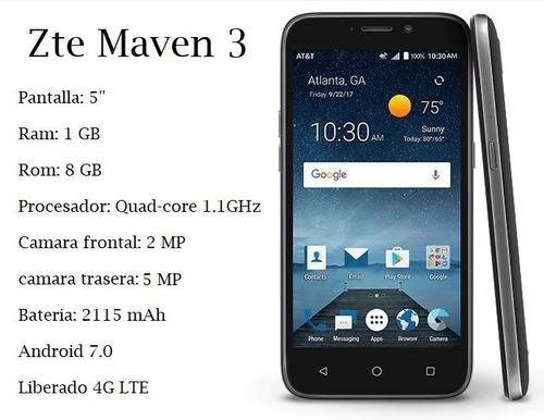 telefono zte maven 3 1gb ram 5 mp 4g android 7 nuevos tienda