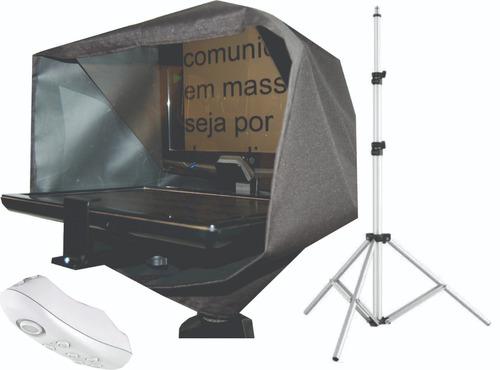 teleprompter com tripé + controle remoto - compacto