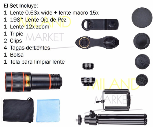 telescopio celular zoom 12x iphone samsung universal lentes