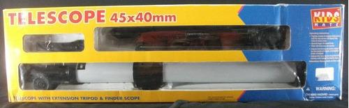 telescópio infantil com tripé em sua caixa original
