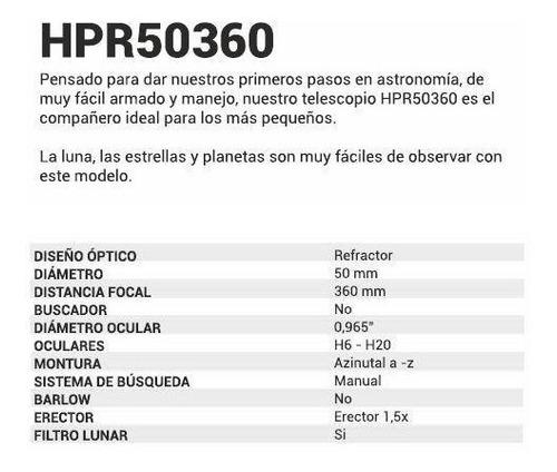 telescopio refractor astronomico hokenn hpr50360