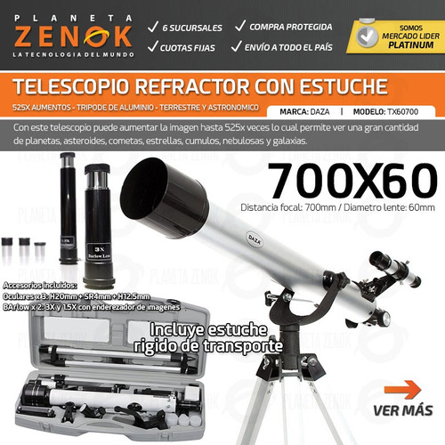 telescopio refractor tripode estuche rigido estrellas planetas
